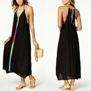 Multi-Colored Trim Maxi Dress Cover-Up